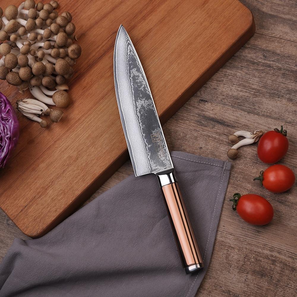 "sunnecko 8"" inch chef knife damascus steel kitchen knives"