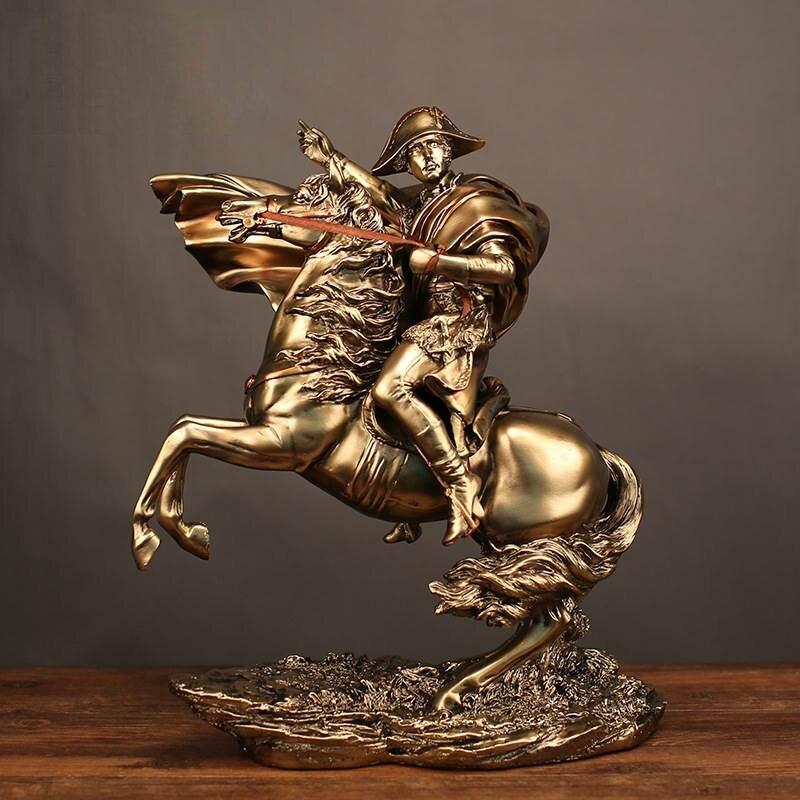 Statue de Sculpture rétro Style résine médiévale équitation un cheval pour commander Combat napoléon créatif ameublement artisanat décor