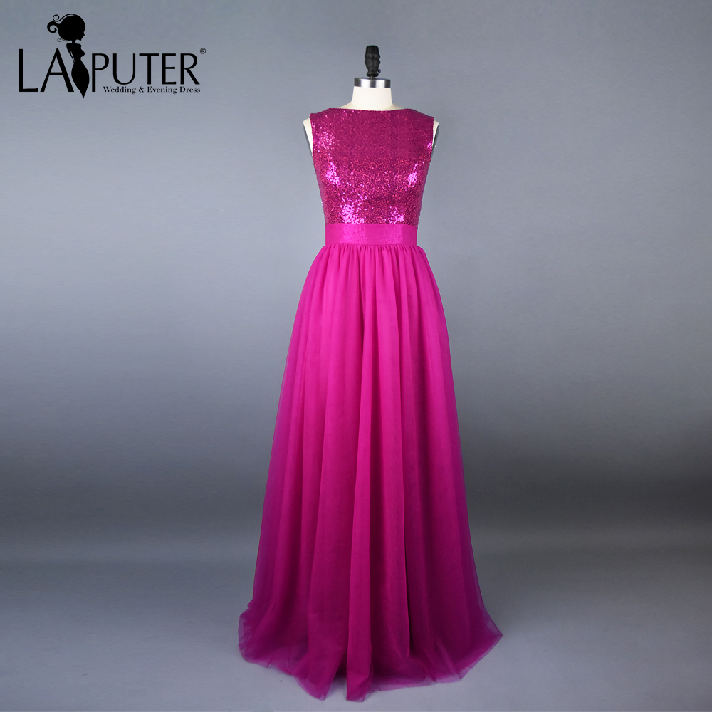 e77ca2cf9e6 Real fotos a linha de fuchsia vestidos dama de honra longo 2017 zipper  chiffon de lantejoulas