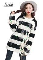 Inverno Mulheres casuais Coreano Arrojado Colorido Decoração de Lantejoulas Pulôver Listrado O Pescoço Manga Comprida Camisola de Malha de Grandes Dimensões