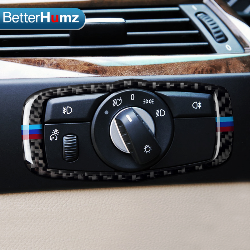 US $11 06 21% OFF|BetterHumz Carbon Fiber Headlight switch Frame trim For  BMW e60 Accessories 5 Series 2005 2010 Car Styling-in Car Stickers from
