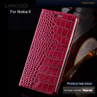 LANGSIDI Brand Phone Case Genuine Leather Crocodile Flat Texture Phone Case For Nokia 6 Handmade Phone