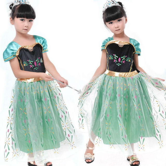 Princess ela and Anna dress girls Party Cosplay costume for kids party disfraces princesa vestido formal dresses