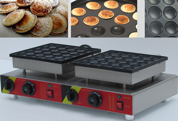 50pc Stainless steel double head Automatic Poffertjes Grill, Electric Dutch Mini Pancakes Poffertjes Machine Baker Maker