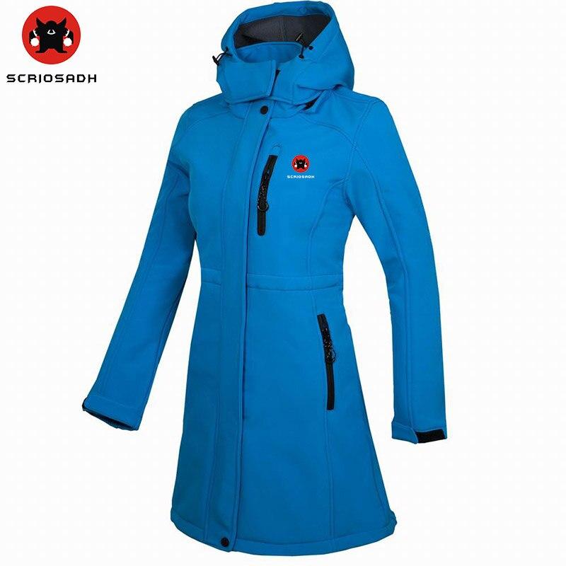 SCRIOSADH Winter Women Jacket Fleece Soft Shell Windproof Long Jacket Outdoor Climbing Ski Waterproof Antistatic Women Jacket