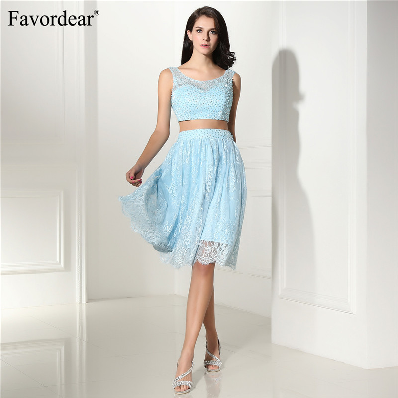 Favordear Two picecs vest lace Formal Dress Pearls Cocktail Dresses 2018 Homecoming Dresses sexy cocktail dresses