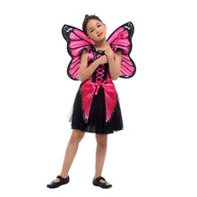Child Kids Girls Pink Butterfly Fairy Elf Princess Costume Pretend Role Play Cosplay Halloween Party Dress