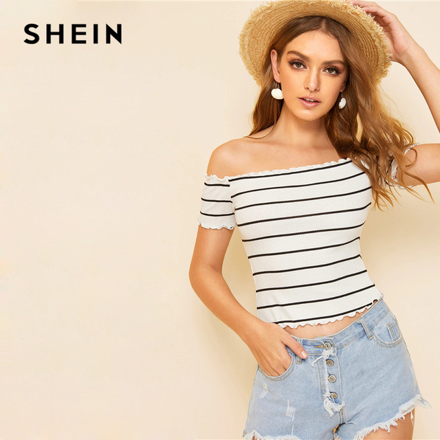 SHEIN Off Shoulder Striped Fitted Crop Top White Cap Sleeve Summer T Shirt Fabulous Style Women Summer Slim Fit 2019 Tees 2
