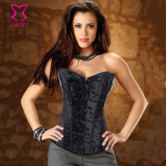 dbcb524556570 Bamboo Jacquard Corselet Overbust Corpetes E Espartilhos Gothic Corset  Black Sexy Korsett For Women Corsets Burlesque