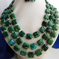 Fashion green malachite baroque freshwater charms pearl earring necklace jewelry making 18-20 inch BV364