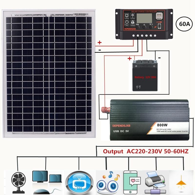 18V 20W Solar Panel +12V 60A Controller + 800W Inverter Dc12V-Ac230V Solar Power Generation Kit, For Outdoor And Home