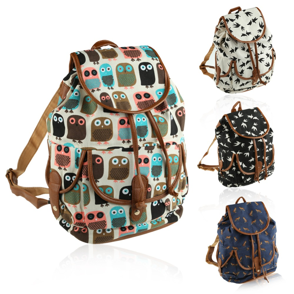 Fashion Animal Printed Women Canvas Backpacks Leather Shoulder Drawstring Rucksack School Bag for Teenager Girl Ladies