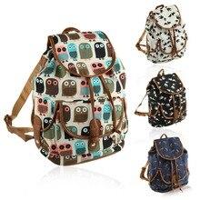 Мода для Животных Отпечатано Женщины Холст Рюкзаки Кожаный Шнурок Рюкзак Мешок Школы для Подростков Девушка Дамы Рюкзак