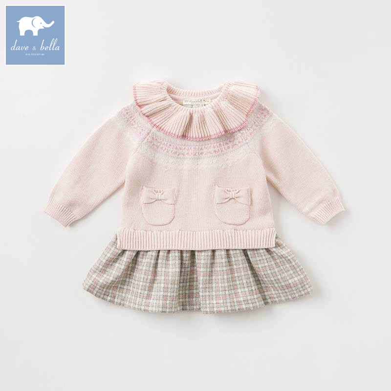 DBZ8404 dave bella baby Knitted Dress girls long sleeve autumn dresses kids woolen dress children birthday party boutique dress цена