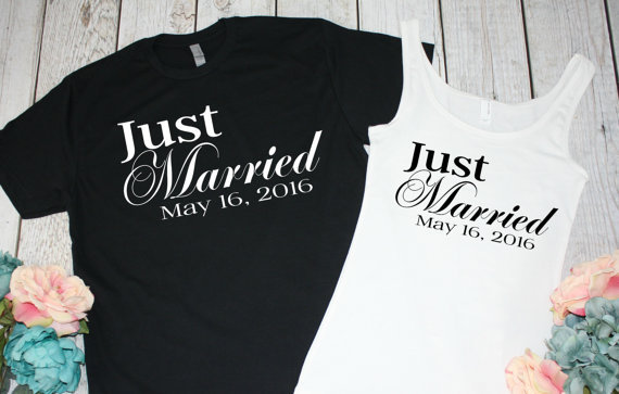 fd8584f65707a custom date Just Married Newlywed Honeymoon wedding Mr and Mrs tanks tops  bride and groom t