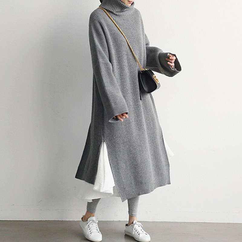 Korean Fashion Long Sweater Dress Women Autumn Winter Thick Turtleneck Knitted Dress Ladies Back Side High Slit Plus Size Dress|Dresses| |  - title=