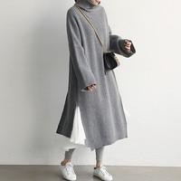 Korean Fashion Long Sweater Dress Women Autumn Winter Thick Turtleneck Knitted Dress Ladies Back Side High Slit Plus Size Dress