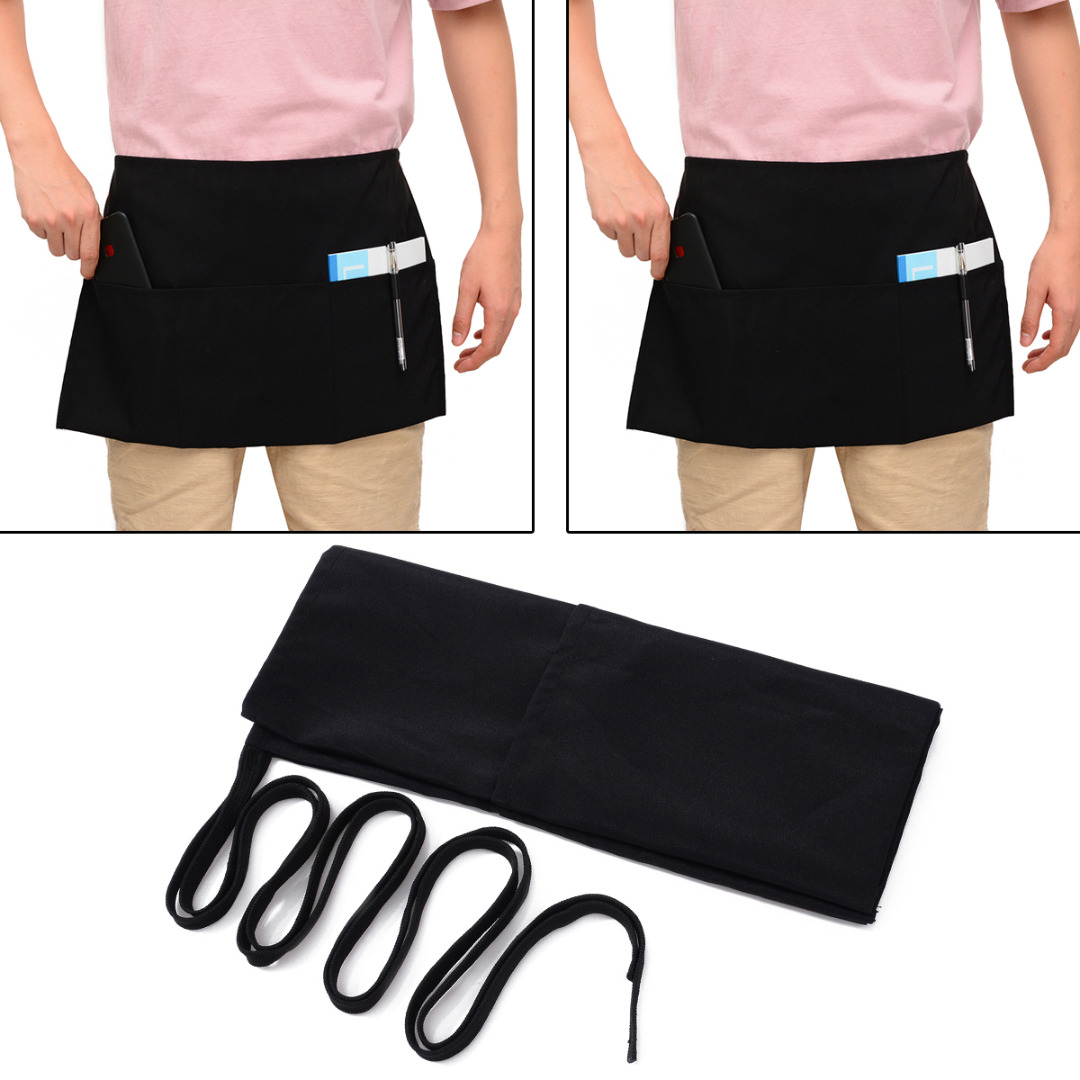 2 Style Black Waist Half Short Apron With Pockets Restaurant Waiters Waitress Chef Apron Kitchen Accessories