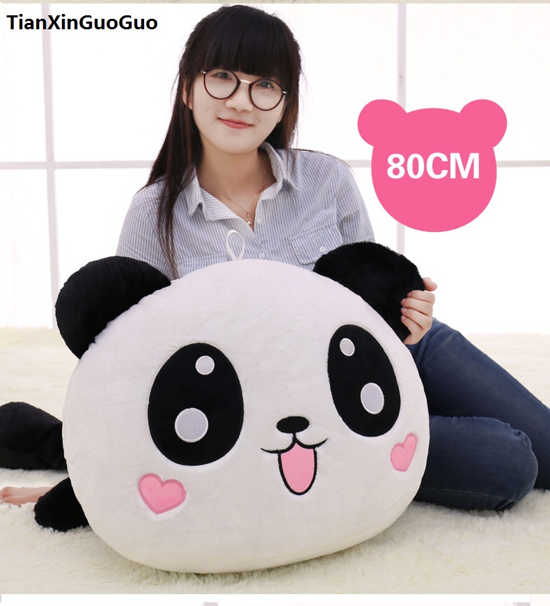 stuffed plush toy large 80cm lying tougue-out panda doll soft throw pillow,birthday gift h0659 lovely giant panda about 70cm plush toy t shirt dress panda doll soft throw pillow christmas birthday gift x023