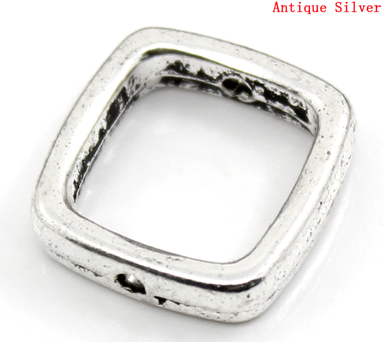 Zinc Metal Alloy Beads Frames Square Antique Silver Color (Fits 10mm Beads) 14mm( 4/8