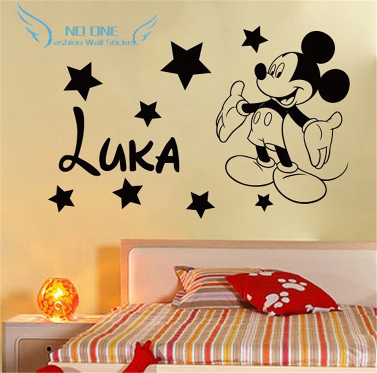 Free shipping Creative DIY cute Mickey Mouse Custom Kids Name baby wall stickers for kids rooms home decoration wall stickers