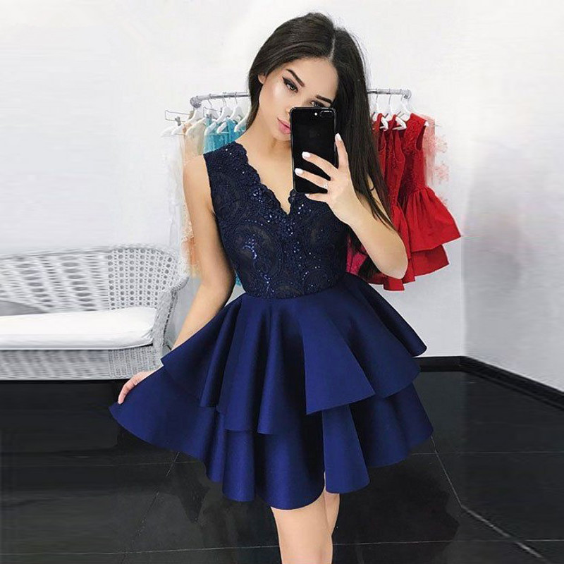 Chic V Neck Lace Ruffles Tiered Satin Short Prom Dress Grade Graduation Dresses vestidos de graduacion