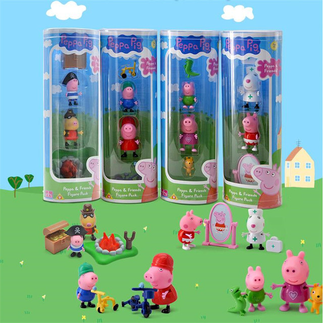 Peppa pig George friend Family Pack 4pcs/set Action Figure Anime Toys Set For Kids children Gift