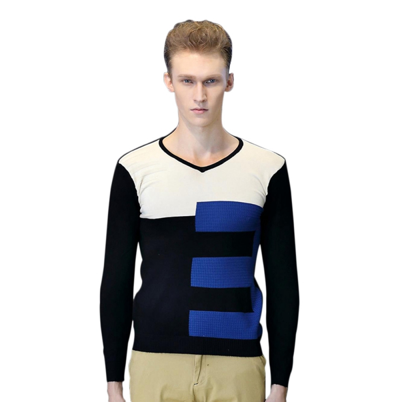 Men Fashion V-collar Pullover Long-sleeve Sweaters Patchwork Stripe Decoration Knitwear High Quality