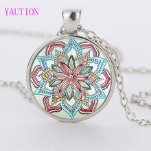Glass Necklaces Jewelry Mandala Flower Pendant & Necklace Henna Yaga Necklace Om Symbol Buddhism Zen(China)