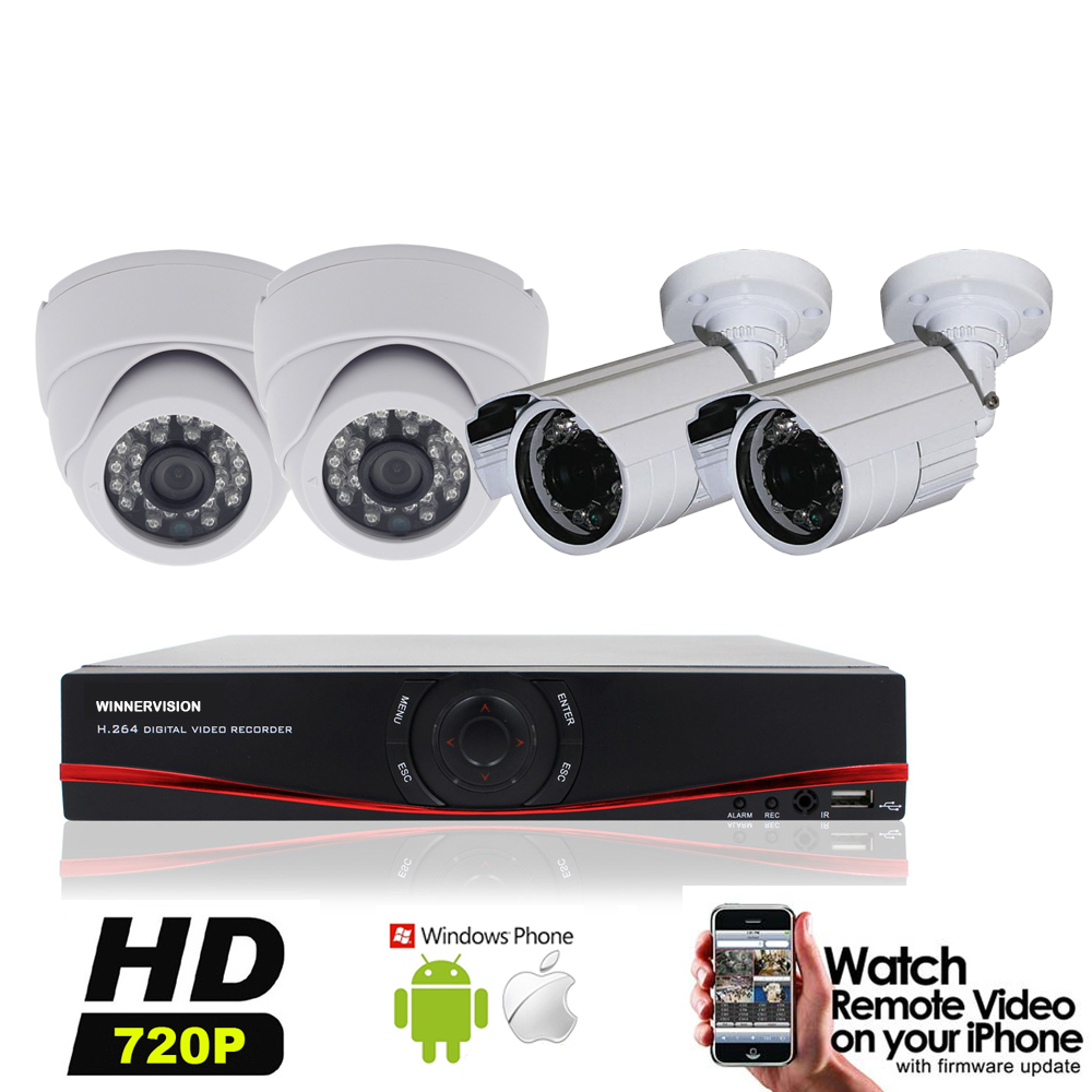 4pcs 1.0MP 720P 960H Indoor Outdoor 1200TVL Security Camera Video Recorder HD 4CH AHD DVR Video Surveillance System Kits