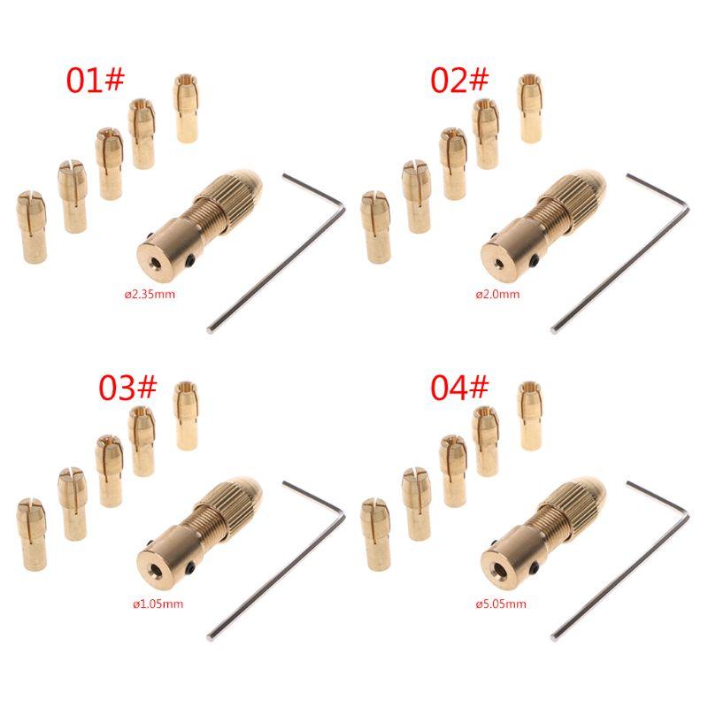 7Pcs/Set 2/2.35/4.05/5.05mm Electric Motor Shaft Mini Chuck Fixture Clamp 0.5-3.0mm Small To Drill Bit Micro Chuck Fixing