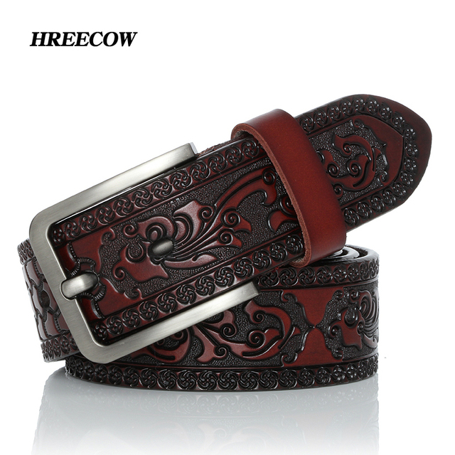 أحزمة للرجال عالية الجودة البقر جلد طبيعي مصمم حزام الذكور الموضة الكلاسيكية Vintage دبوس مشبك حزام Jeans الجينز