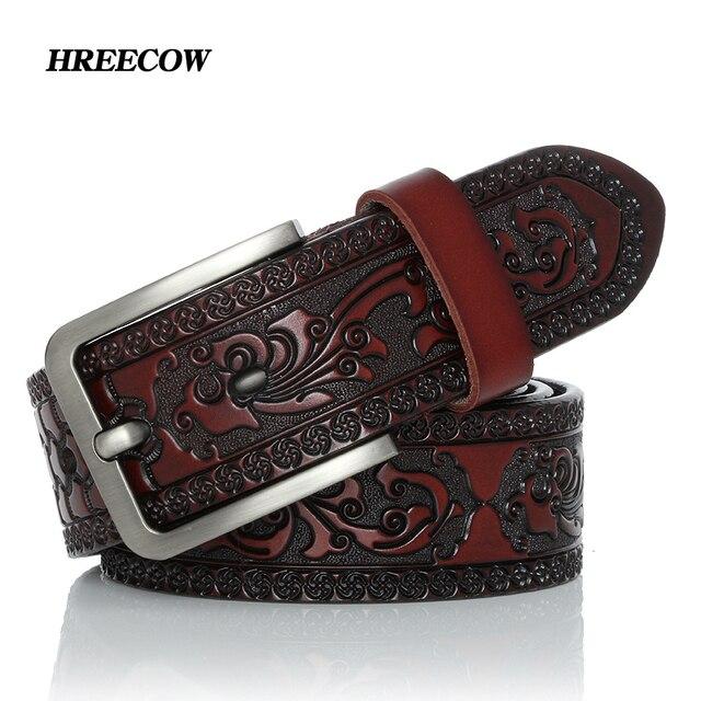 Cinturón clásico de cuero de vaca para hombre, cinturón masculino de alta calidad con hebilla de Pin, a la moda, para Vaqueros