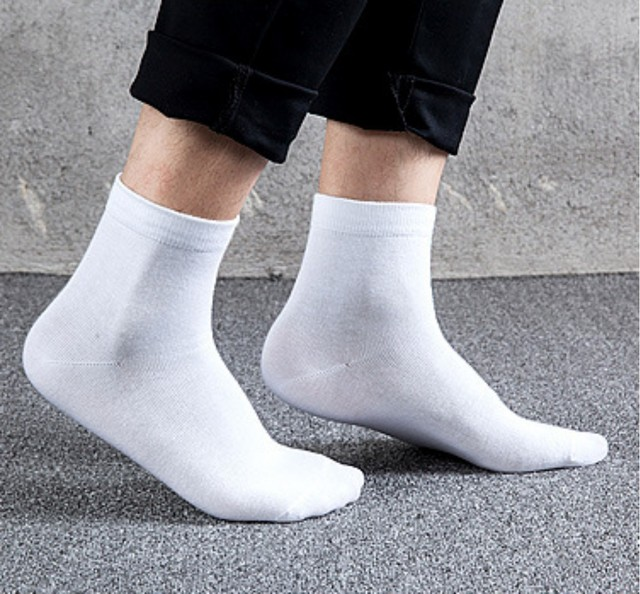 Solid Cotton Socks Men Business Sock Classic Style Pure Crew Quarter
