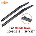 Qeepei wiper blade para honda civic 2009-2016 26 ''+ 22'' de borracha limpa frente windshield windscreen car acessórios cpu706