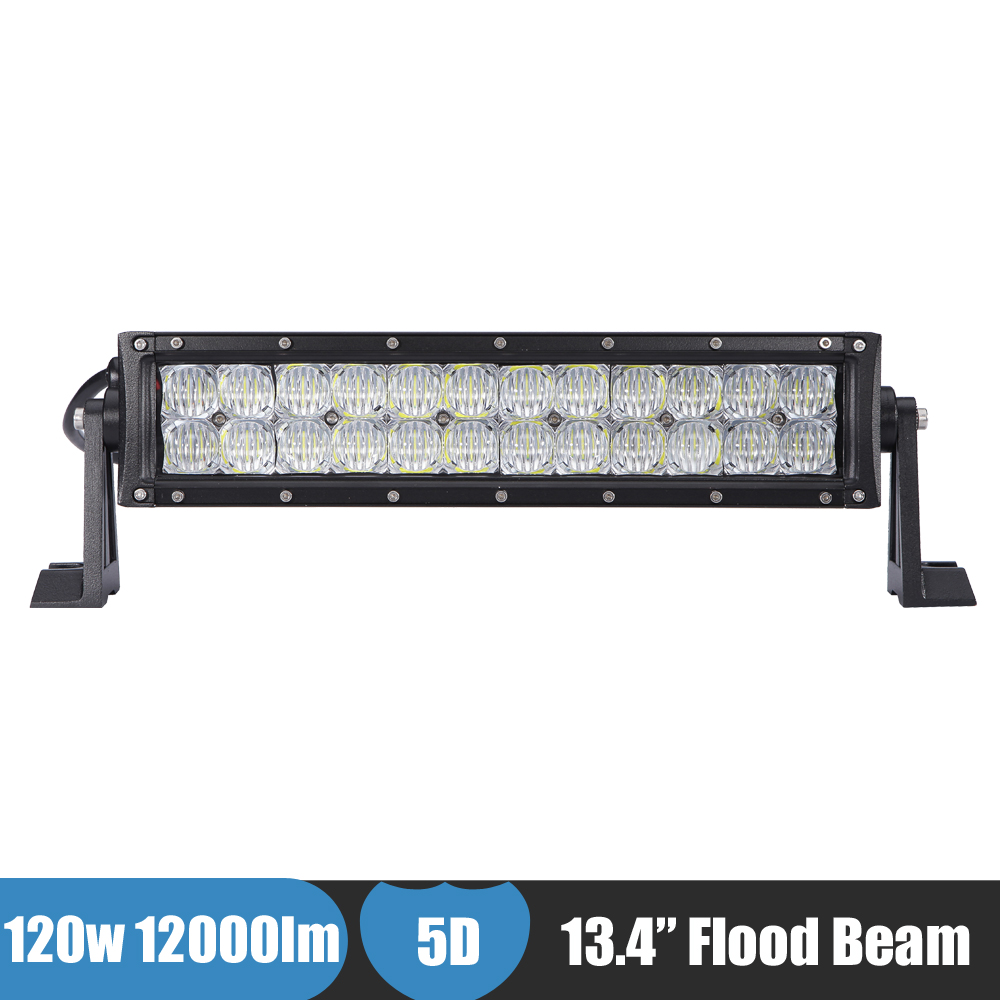 13 Inch 120w LED Light Bar 4X4 4WD AWD Offroad LED Work Light 5D Flood Beam Car Fog Driving Lamp Truck Tractor ATV Mining Boat 21w round led work offroad light spot lamp 10 30v led driving light 4wd atv boat truck 4x4 tractor motorcycle working headlight