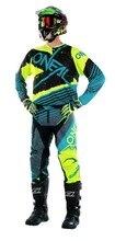 O envio gratuito de 2017 Neon Verde/Azul Teal/Cinza Mens Hardwear Skizm Bicicleta Da Sujeira Kit Calças Jérsei