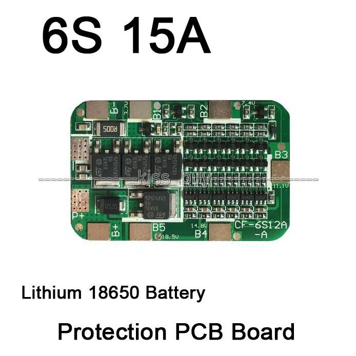 6s 15a Bms Protection Pcb Board For 6 Packs Li Ion Lithium