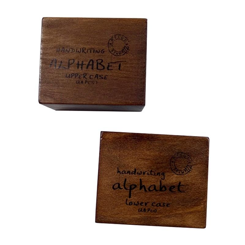 28 Pcs/set Wooden Box Vintage Multi Purpose Handwriting Lowercase&Uppercase Alphabet Letter Decoration Wood Rubber Stamps Set