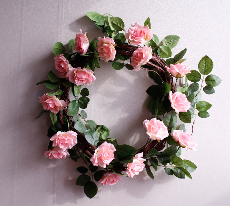 ( white red pink ) wedding round wreath artificail rose garland front door decoration