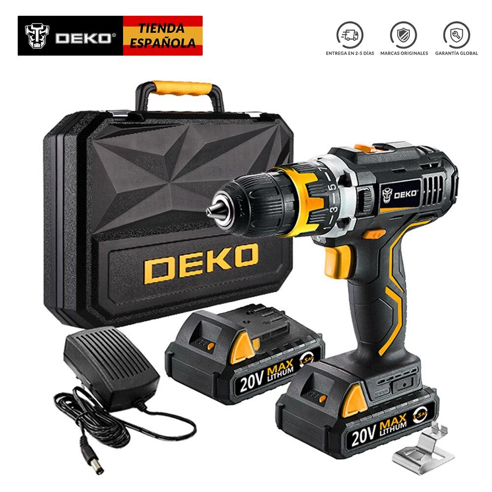 DEKO Original GCD20DU2Y 20 volts Max DC batterie Lithium-Ion 1/2 pouces perceuse électrique sans fil 2 vitesses Mini tournevis sans fil