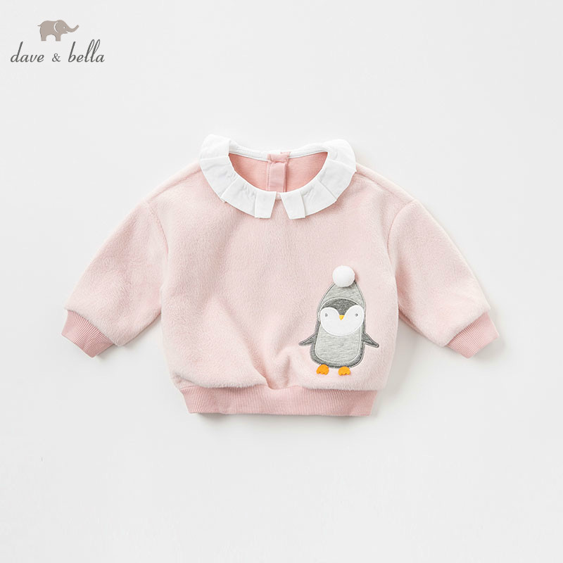 DBM8649-1 dave bella baby girls autumn infant baby fashion t-shirt toddler top children high quality tees lovely pink clothes db5884 dave bella autumn infant baby girls fashion t shirt kids 100% cotton lovely tops children high quality tee