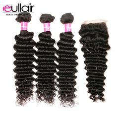 Eullair Волосы Бразильские глубокие волны волосы плетение пучки с 4*4 закрытия 4 шт. натуральный цвет 100% человеческих волос пучки