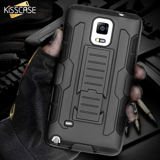 Kisscase Black Armor Case For Samsung Note 4 5 3 Case For