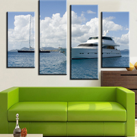 4pcs Yachts And Sailing Wall Art Picture For Living Room Home Decor Printed Landscape Oil Painting