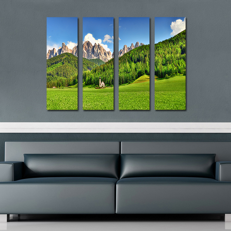 Cheap 4PCS Beautiful Grassland mountain house Wall painting print on canvas  for home decor ideas paints on wall pictures art-in Painting & Calligraphy  from ...