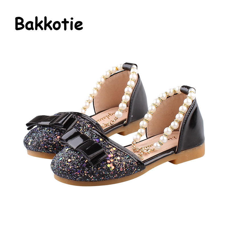 Bakkotie 2018 New Fashion Summer Baby Girl Bow Pearl Sandal Child Pink  Glitter Flats Little Kid Black Slip On Sweet Brand Shoes-in Sandals from  Mother ... 26367f38eaf8