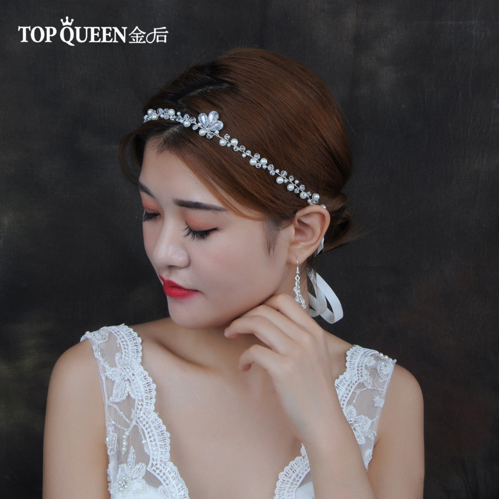 TOPQUEEN HP148 Handmade Crystal Bridal Hair Accessories Pearl Hair Jewelry New Fashion Hair Ornaments Wedding Party Headband