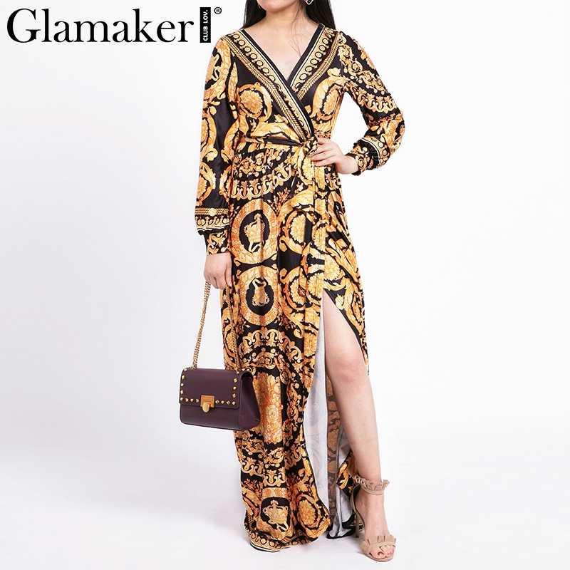 f828610df16 ... Glamaker Vintage split sexy boho dress Women summer elegant print maxi  dress long sleeve paisley 2019 ...