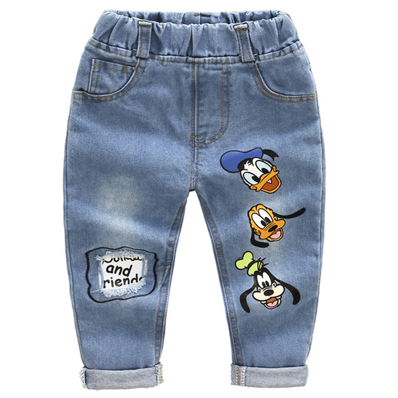 Brand Kids Cartoon Trousers Pant Fashion Girls Jeans Children Boys Hole Jeans Kids Fashion Denim Pants Baby Jean Infant Clothing(China)